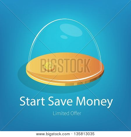 Vector illustration with golden coin in glass piggy bank. E-commerce ads banner for design.