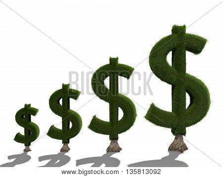 3d render money tree isolated on white background