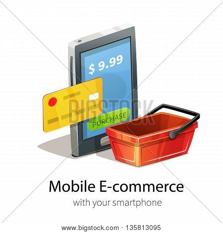 Mobile e-commerce concept. Smartphone, plastic credit card and money. Isolated on white background. Red empty shopping basket.
