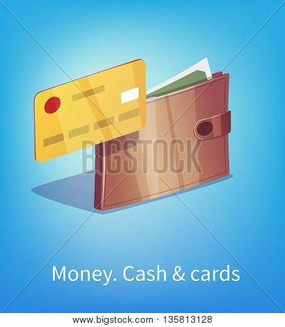 Wallet full of dollars and green money with plastic credit card.