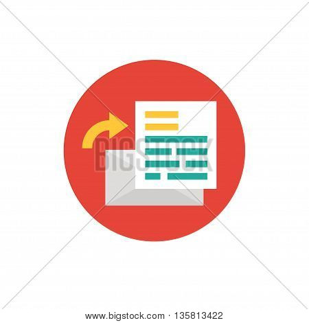 Letter Icon in flat style- vector illustration. Mail has arrived concept. Letter symbol on red background - round color ico. Homepage concept. For website graphics, mobile apps, web page layout design.