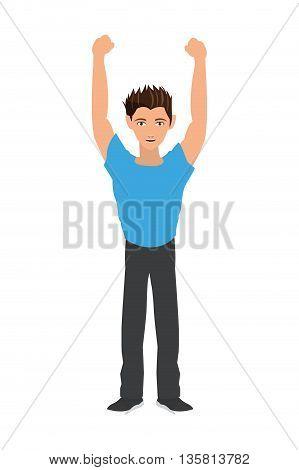 black hair man raising arms icon vector illustration