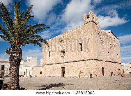 The fortified Sanctuary of the town of San Vito Lo Capo in northern Sicily in the Trapani province Italy