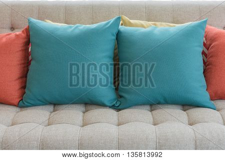 Colorful Pillows On Classic Sofa Style In Living Room