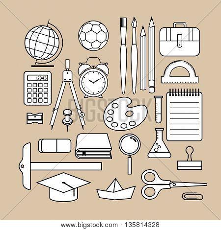 Vector school supply icon design collection.