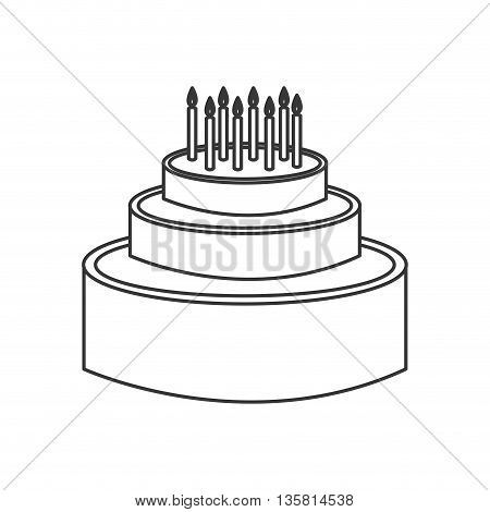 simple black line birthday cake with candles on top vector illustration