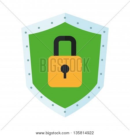 shield with lock in the center vector illustration