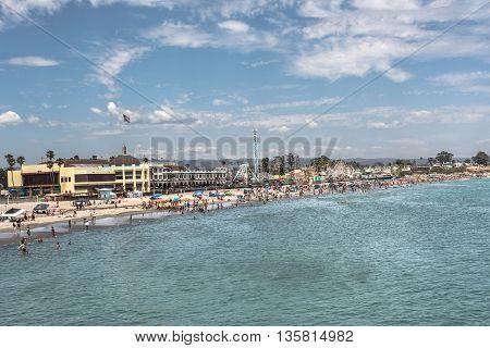 Santa Cruz,California,USA - July 20, 2015 : View of Santa Cruz Beach Boardwalk