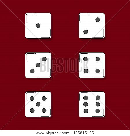 Six colored cartoon-style dice cubes on red background