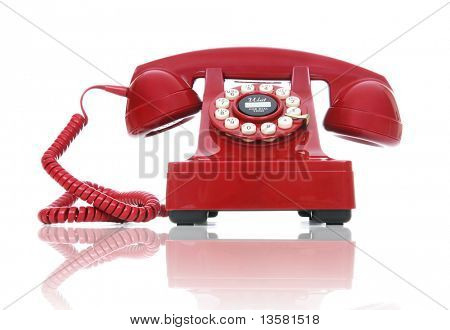 A red hot-line phone over a white background