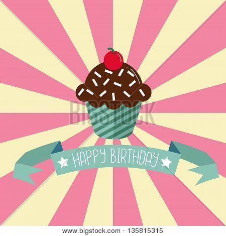 Birthday greeting card with cupcake. Cute vector illustration.
