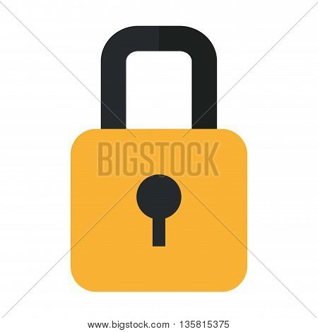 simple flat design closed padlock with keyhole icon vector illustration