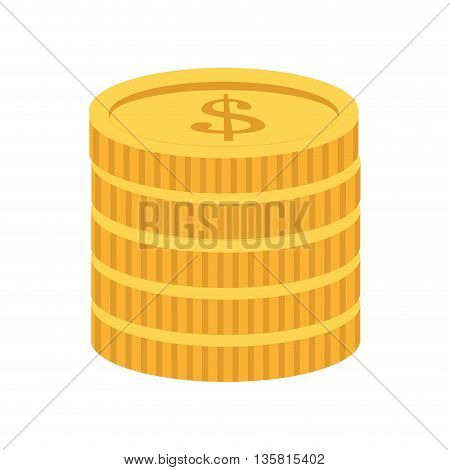 simple flat design of yellow coin stack icon vector illustration