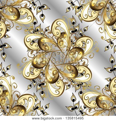 Vintage pattern on gray gradient background with golden elements.