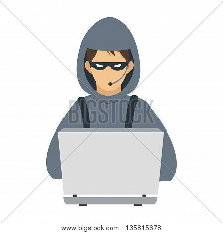 flat design of computer hacker with hoodie and mask vector illustration