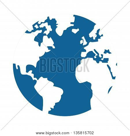 simple flat design world globe with water and land distinction vector illustration