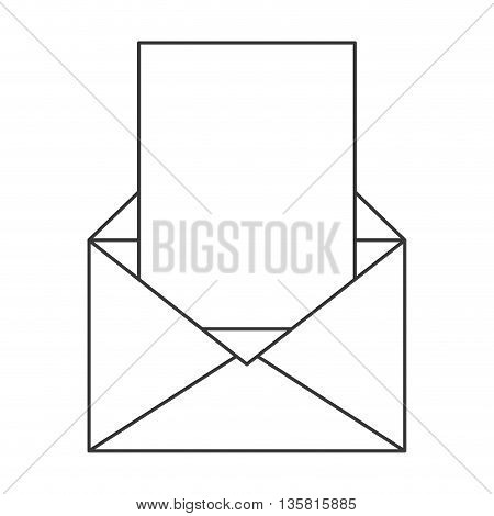 simple black line open envelope with blank paper coming out vector illustration
