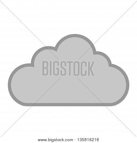 simple flat design grey cloud icon vector illustration