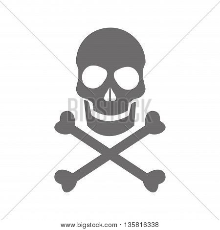 flat design grey skull and bones danger icon vector illustration