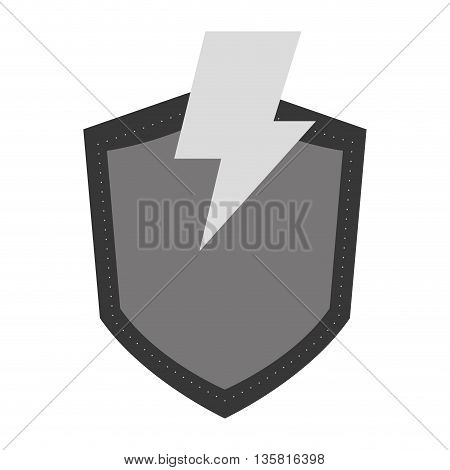 simple flat design of grey shield with lightning vector illustration