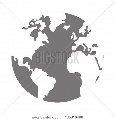 simple flat design grey and white world globe with water and land distinction vector illustration