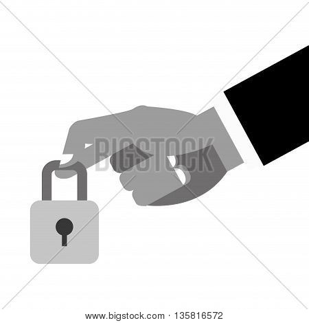 black and grey simple flat design hand holding closed padlock with keyhole icon vector illustration