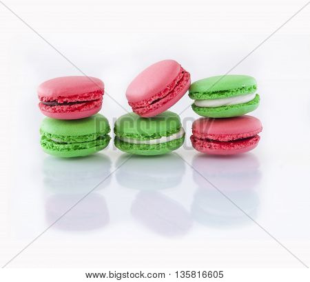 Colorful French Macarons on white background. Christmas concept.