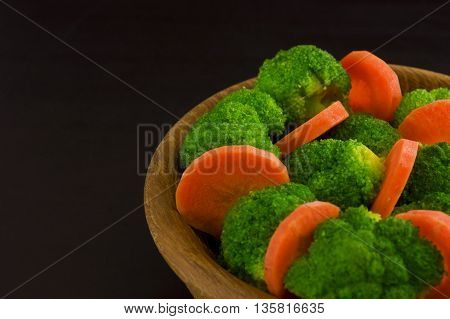 Vegetables. Broccoli and carrots on a plate. Diet concept. Macrobiotic.