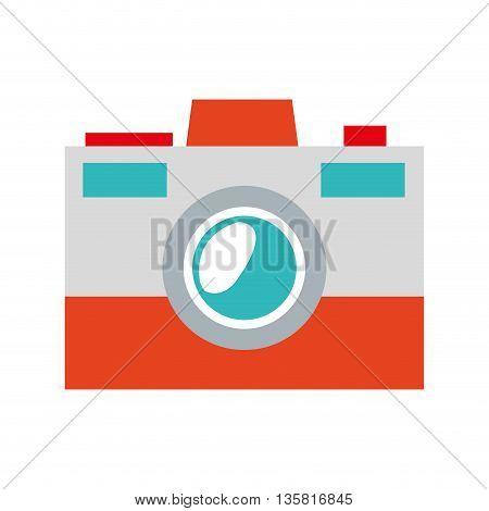 simple flat design grey blue and orange photographic camera icon vector illustration
