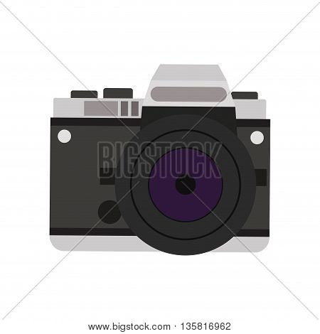 flat design detailed photographic camera icon vector illustration
