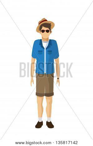 flat design male tourist wearing hat sunglasses cargo shorts blue shirt vector illustration