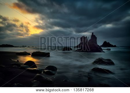 view of Benijo beach at sunset, Tenerife, Canary islands, Spain