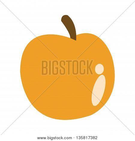 simple flat design of yellow whole apple vector illustration