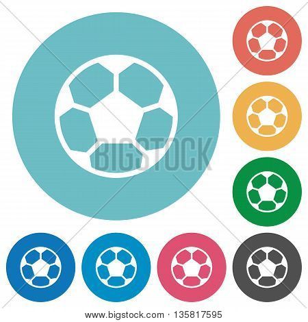 Flat soccer ball icon set on round color background.