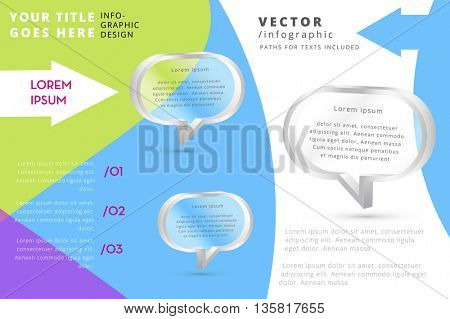 COLORFUL MODERN VECTOR INFOGRAPHIC WITH 3D CHAT ICONS