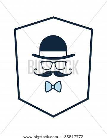 simple flat design hat glasses mustache bowtie inside shield icon vector illustration