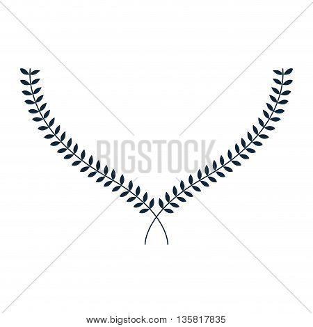 simple flat design blue laurel wreath icon vector illustration
