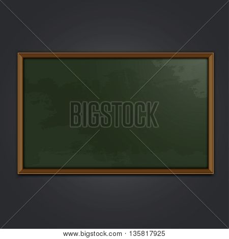 Green school chalkboard vector illustration. Editable image on a dark grey background. Graphic template for creating educational designs, learning leaflets and brochures.