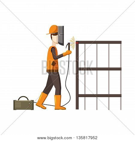 Industrial construction welder worker icon in cartoon style on a white background
