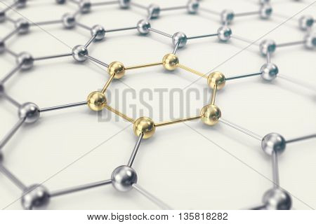 Molecules connected, crystallized in the hexagonal system 3d illustration