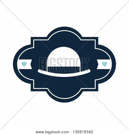simple flat design of vintage hat inside art deco badge vector illustration