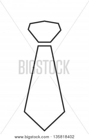 simple black line necktie icon vector illustration