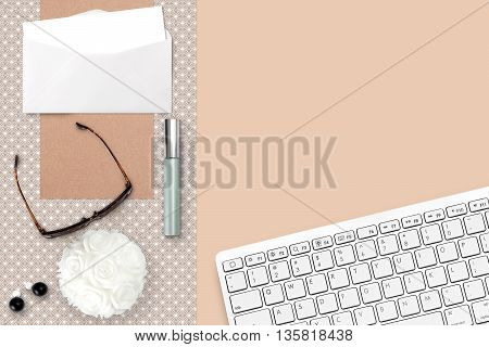 Styled Feminine Scene With Keyboard