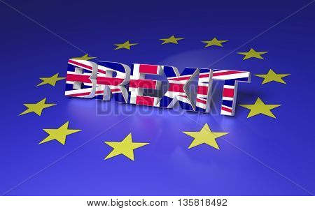 The text symbolize GB leaving EU. 3D rendering