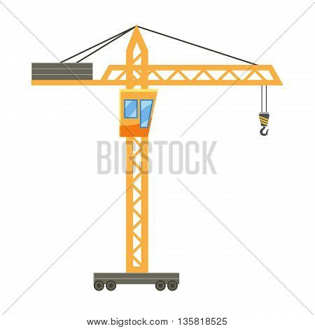 Orange hoisting crane icon in cartoon style on a white background