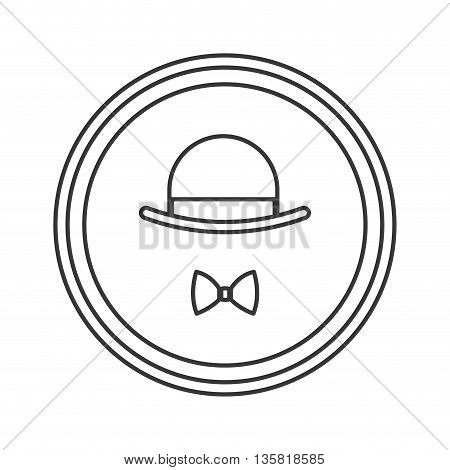 simple black line vintage hat and bowtie inside round badge vector illustration