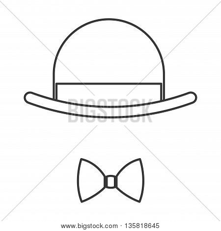 simple black line vintage hat over bowtie icon vector illustration