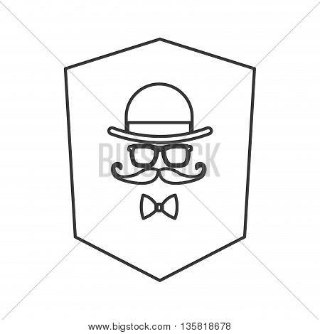 simple black line shield hat glasses mustache bowtie icon vector illustration