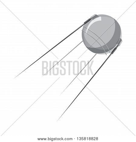 Artificial Earth satellite icon in cartoon style on a white background