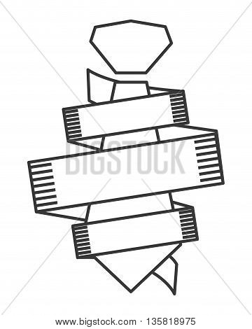 simple black line necktie surrounded by ribbon banner icon vector illustration